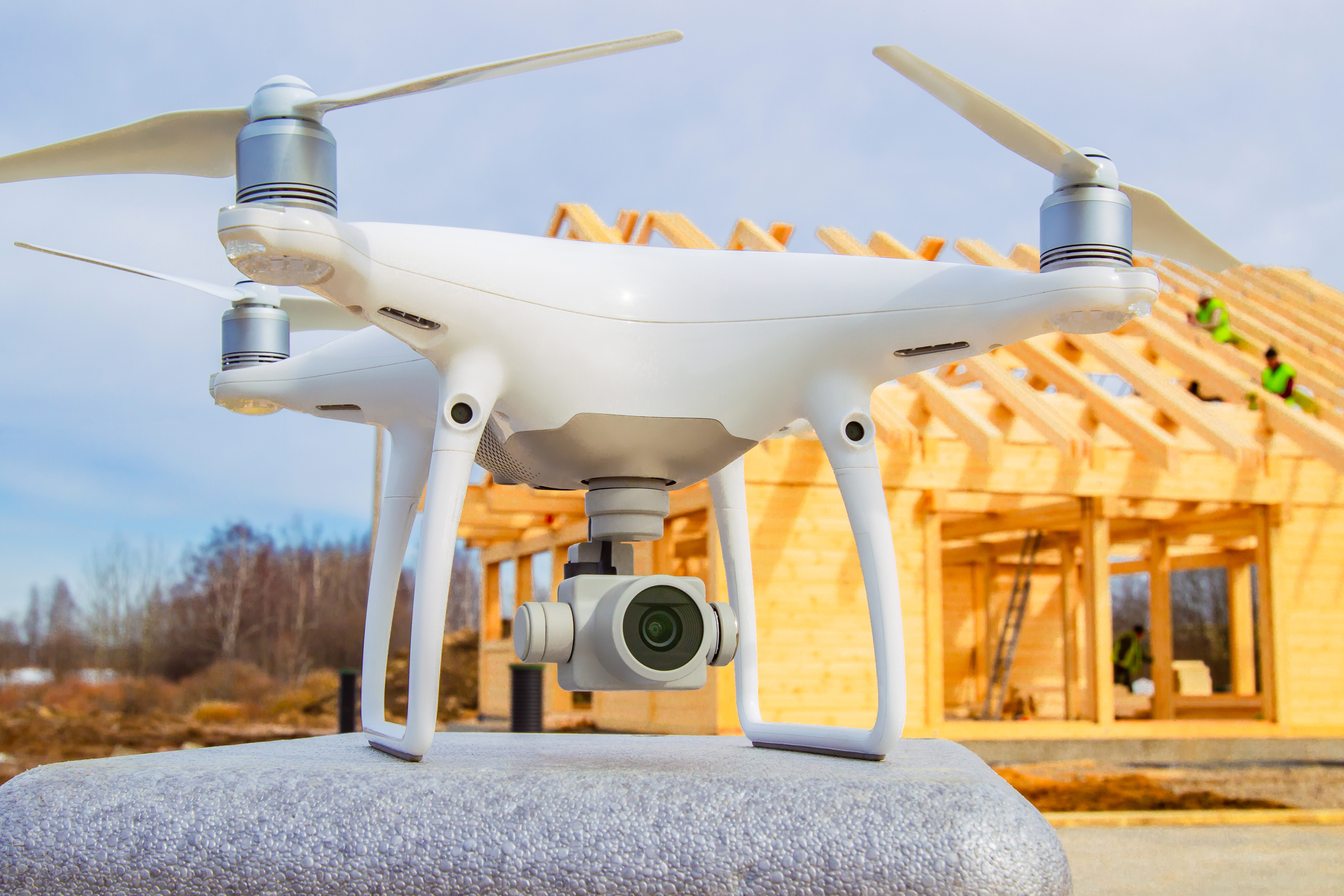 drone in front of house construction